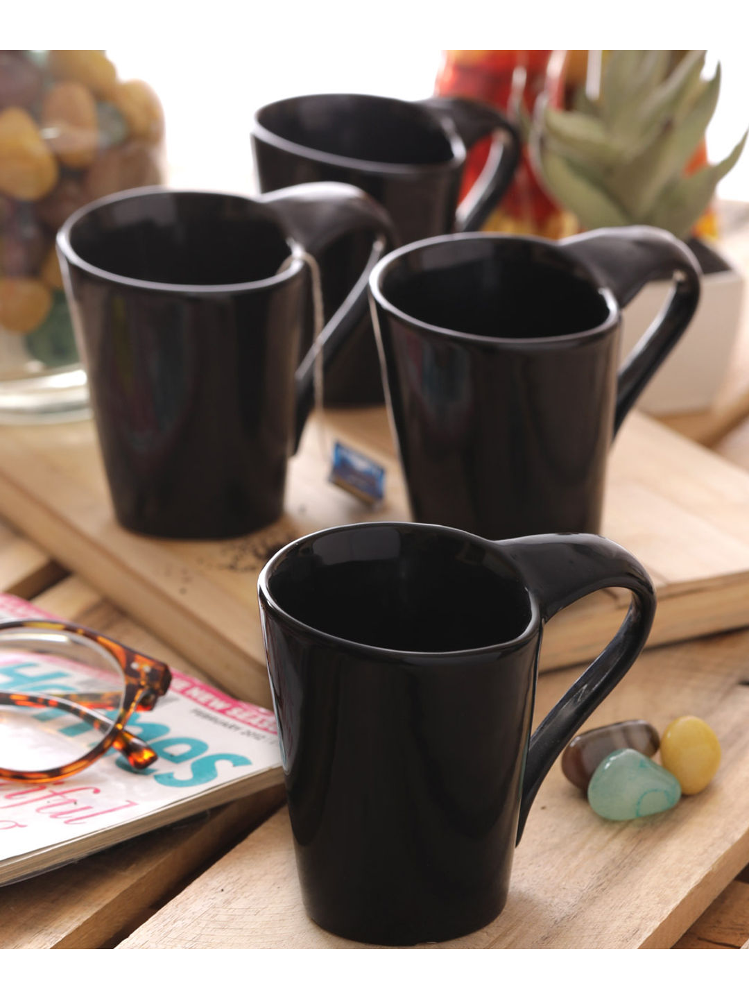 Black Coffee Mugs & Glasses Set of Six