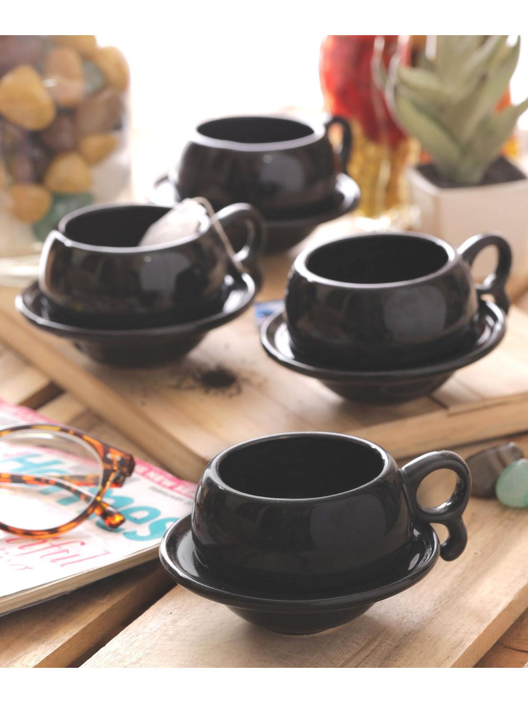 Ceramic Black Cups with Saucers Set