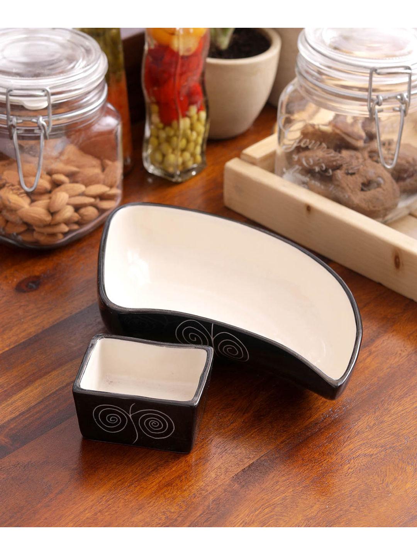 Black Ceramic Serving Dish with Dip Bowl