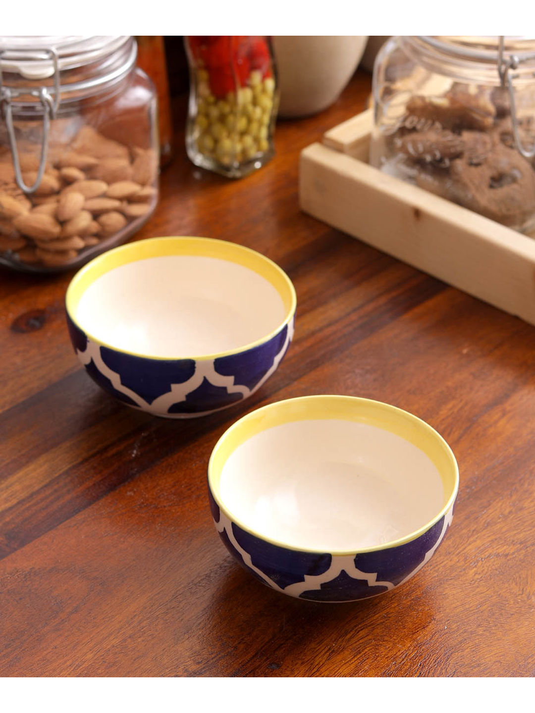 Ceramic Blue Yellow Serving Bowls Set of Four