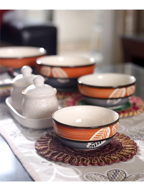 Ceramic Leaf Serving Bowls Set of Four