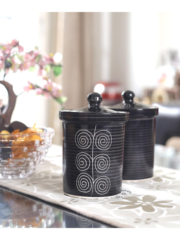 Black Ceramic Jars Set of Two - 6 Inches