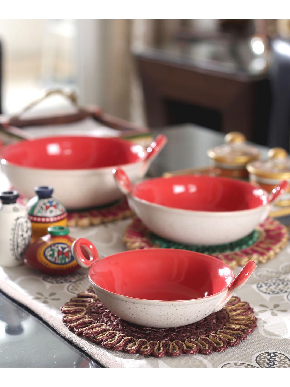 Marble Red Ceramic Kadhai Serving Dishes Set of Three
