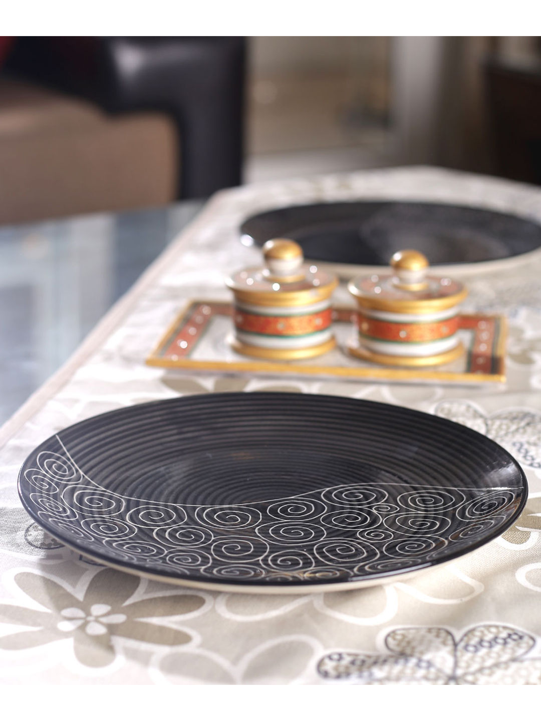 Hand Crafted Black Ceramic Full Plates Set of Six