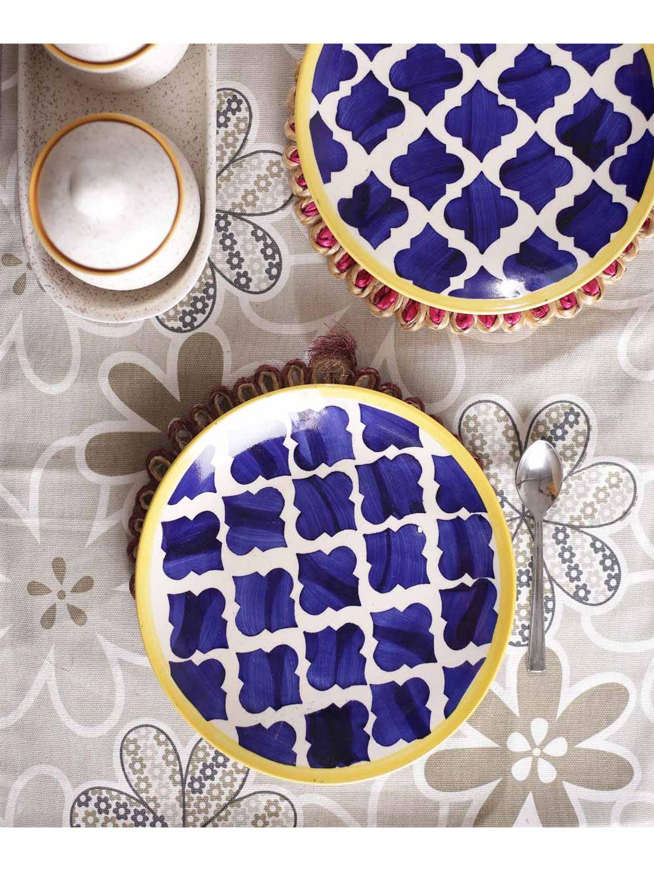 Moroccon Blue Ceramic Quarter Plates Set of Six