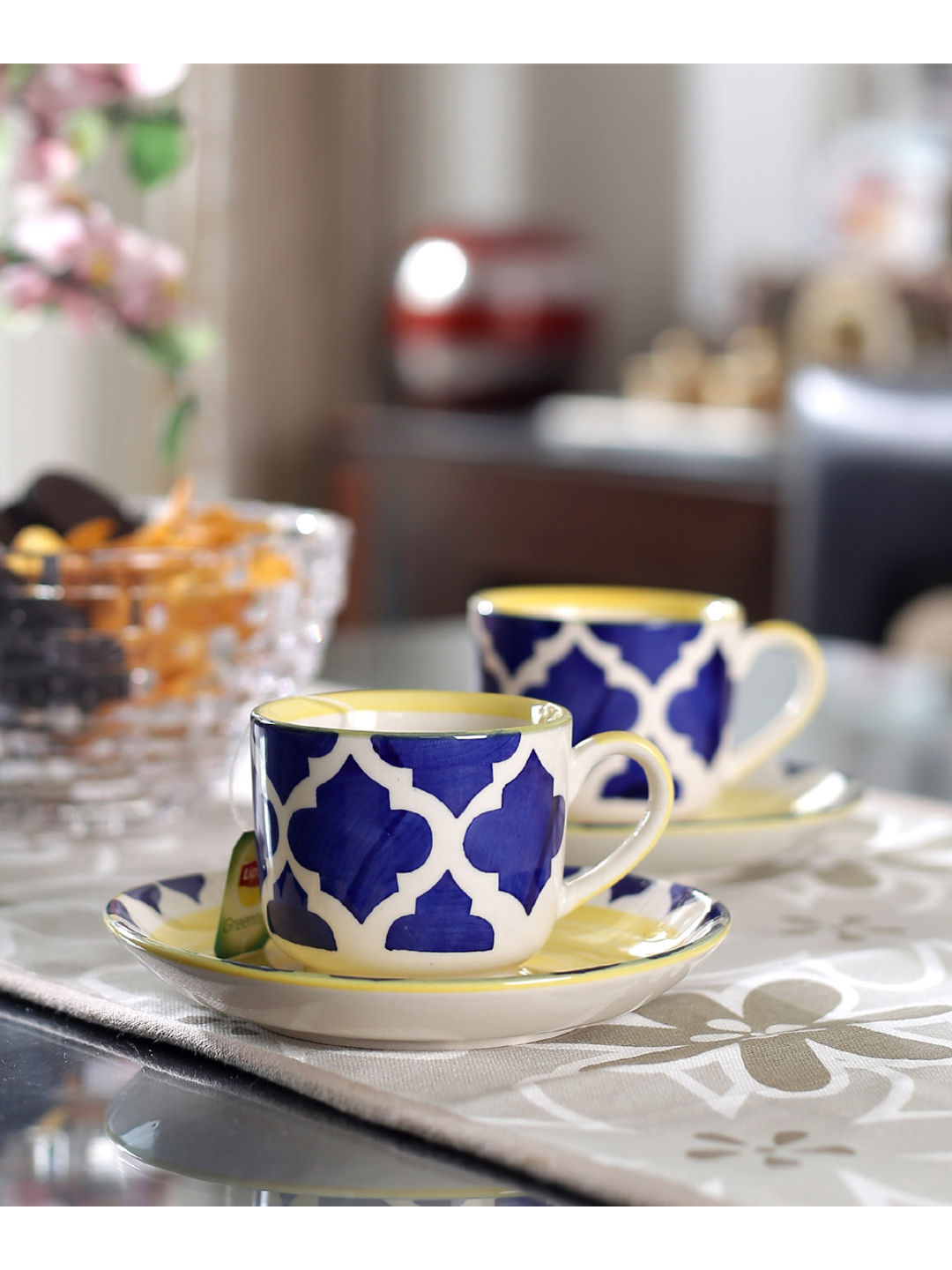 Moroccon Blue Cups with Saucer Set