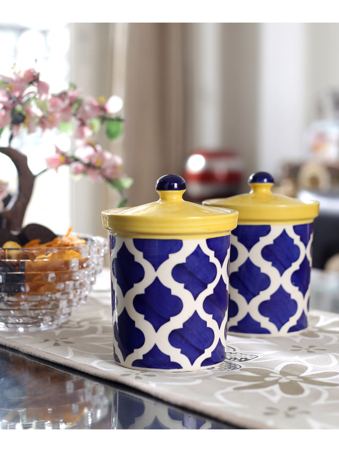 Moroccan Blue Ceramic 6 Inch Jars Set of Two