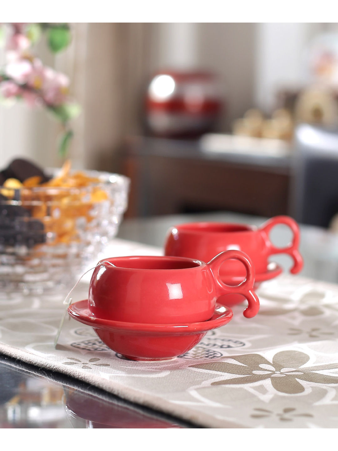 Red Ceramic Cups with Saucers