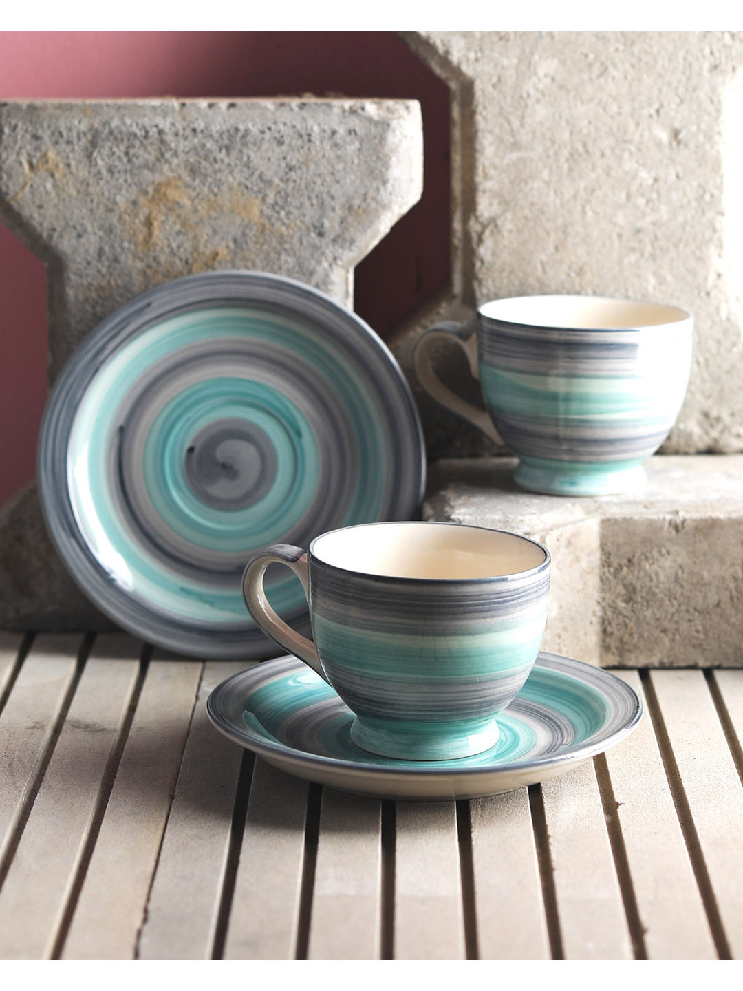 Twirling Green Ceramics Cup and Saucer Set