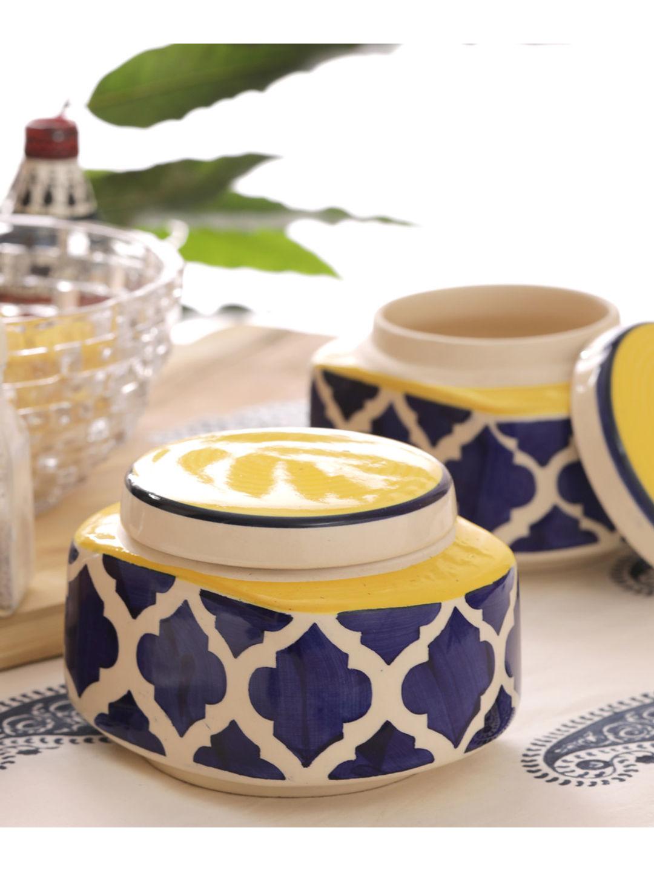 Handmade Blue Ceramic Rectangular Jars Set of Two