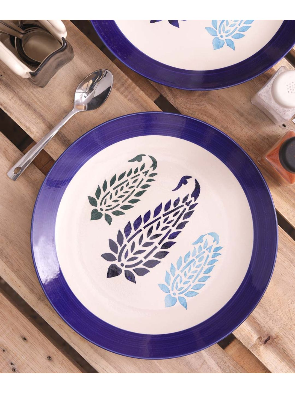 Blue Paisley Ceramic Full Plates Set of Six