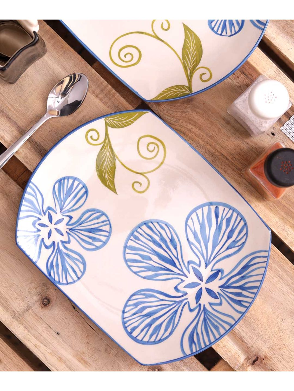 Blue Flower Ceramic Rectangular Serving Plate Set of Two