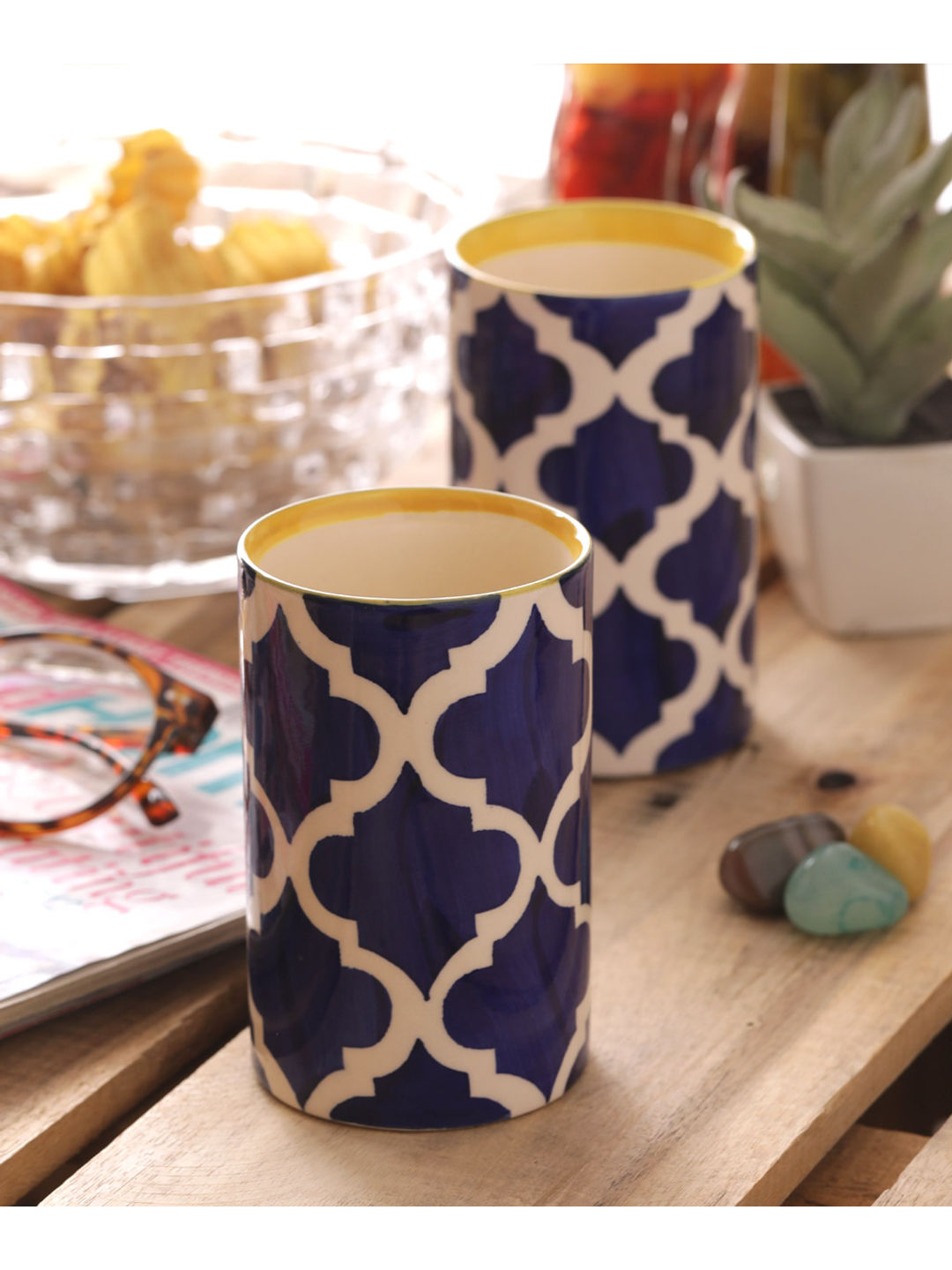 Moroccon Blue Glasses Set of Four