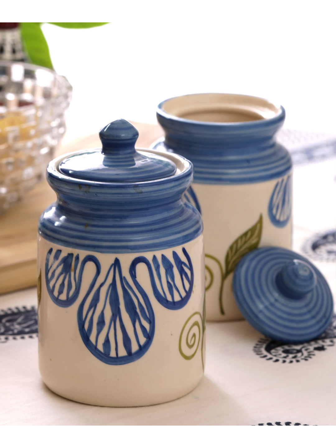 Blue Flowers 6 Inches Ceramic Jars Set of Two