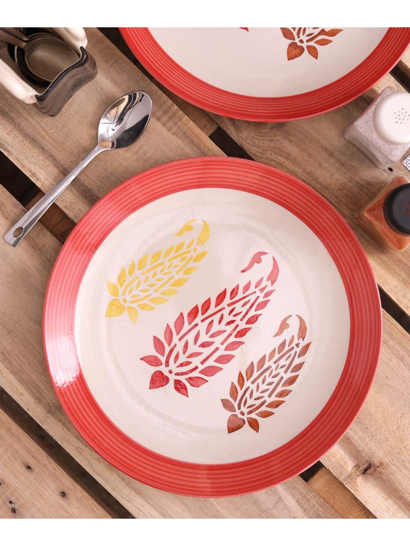 Red Paisley Quarter Plates Set of Six