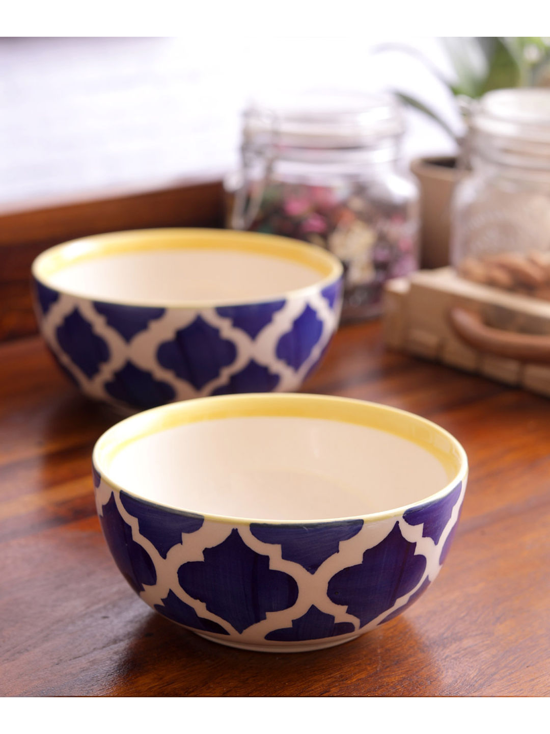 Blue Ceramic Serving Bowls Set of Two