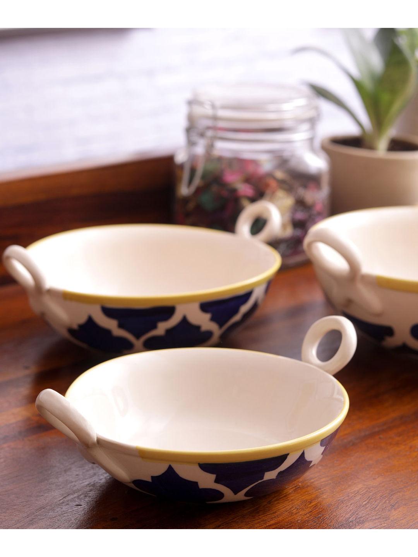 Moroccon Blue Ceramic Kadhai Serving Dishes Set of Three