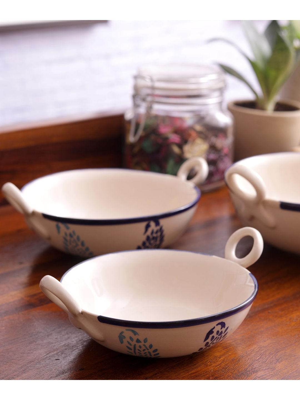 Blue Paisley Ceramic Kadhai Serving Dishes Set of Three