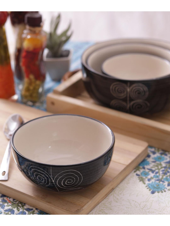 Black Spiral Ceramic Bowls Set of Four
