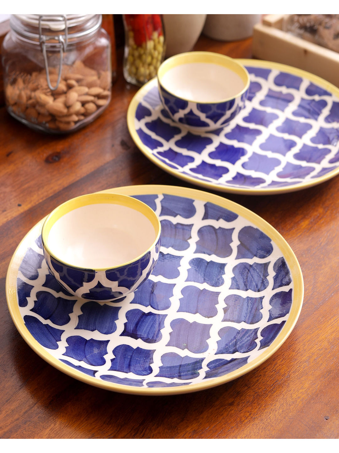 Blue Moroccon Ceramic Dinner Set of Eight - Plates with Curry/Kartori Bowls