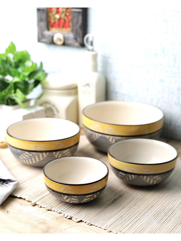 Yellow Grey Ceramic Bowls Set of Four