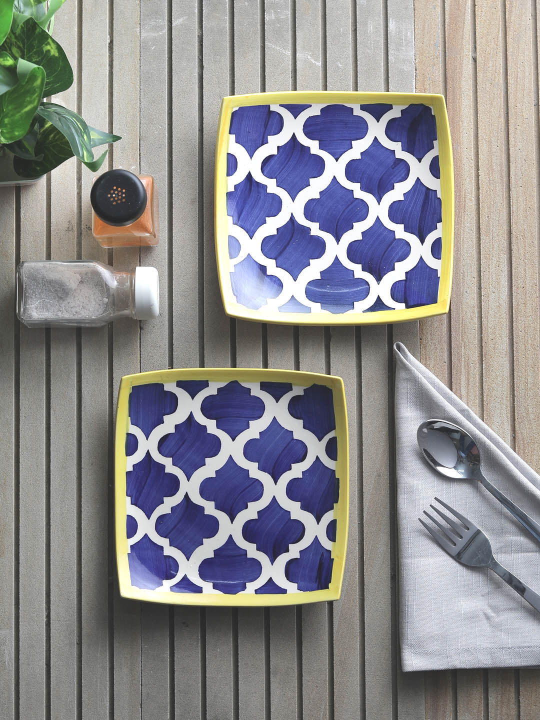 Moroccon Blue Square Snacks Plates Set of Two