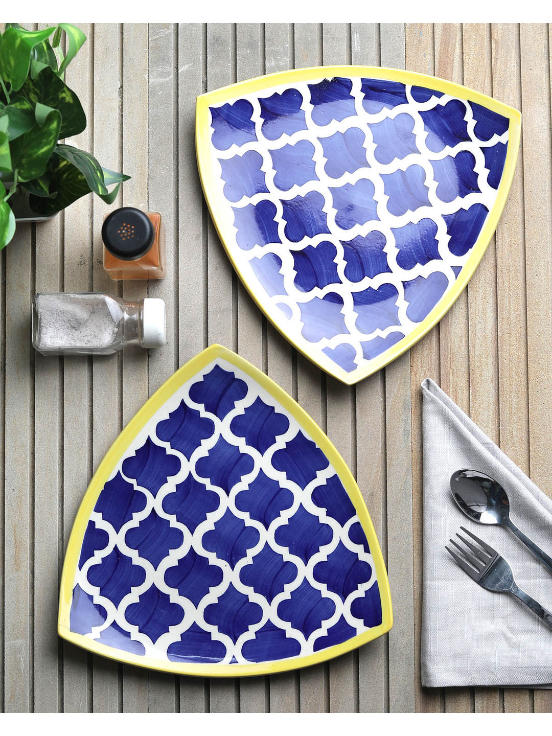 Moroccon Blue Triangle Serving Plates Set of Two