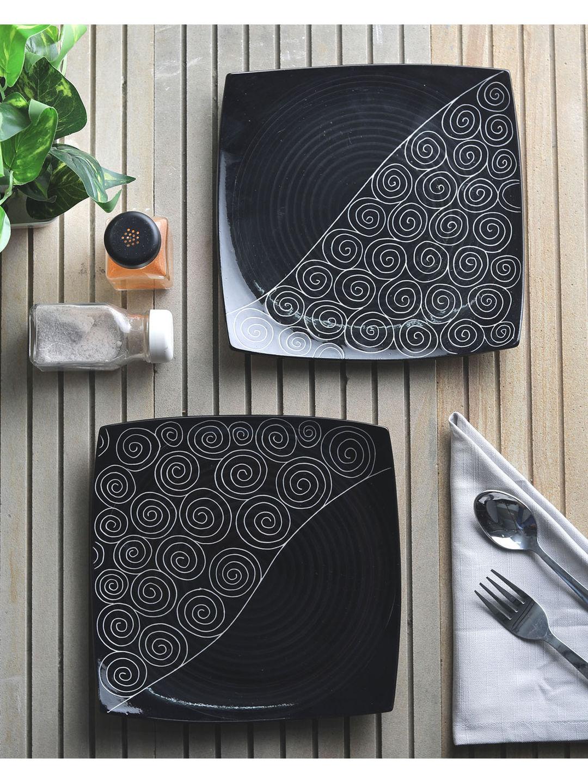 Ceramic Black Square Plates Set of  Two