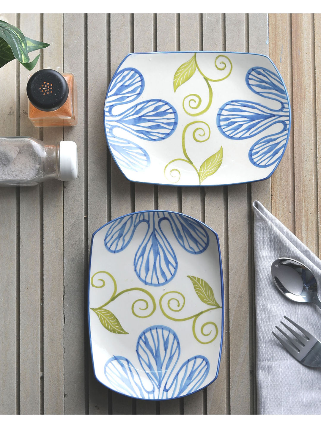 Blue Flowers Ceramic Snacks Plates Set of Two