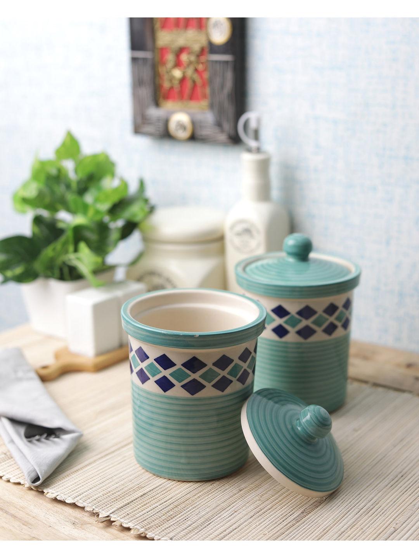 Green Diamond 6 Inch Ceramic Jars Set of Two