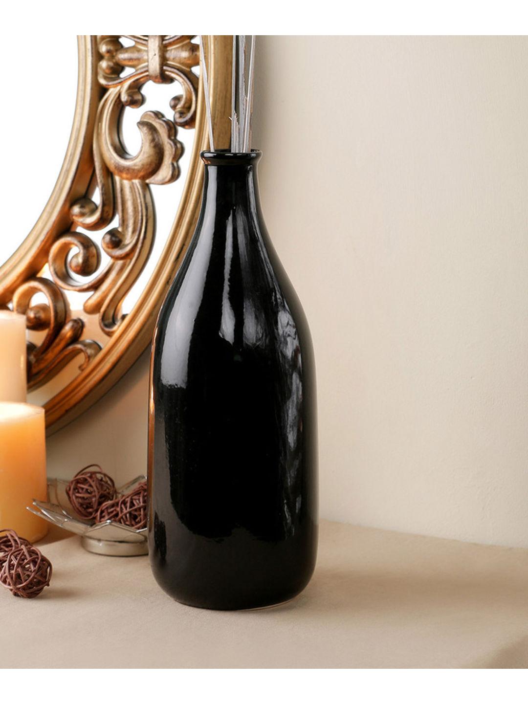 Hand Made Black Ceramic Bottle Vase