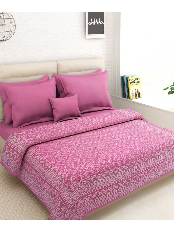 Rajasthani Pink Block Kantha Work Bed Cover