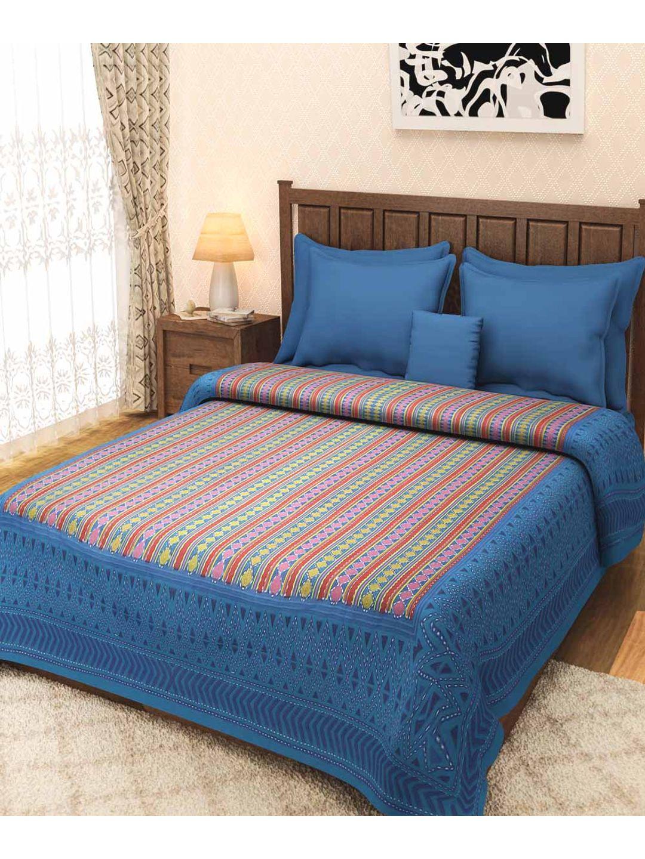 Rajasthani Turquoise Block Print Kantha Bed Cover
