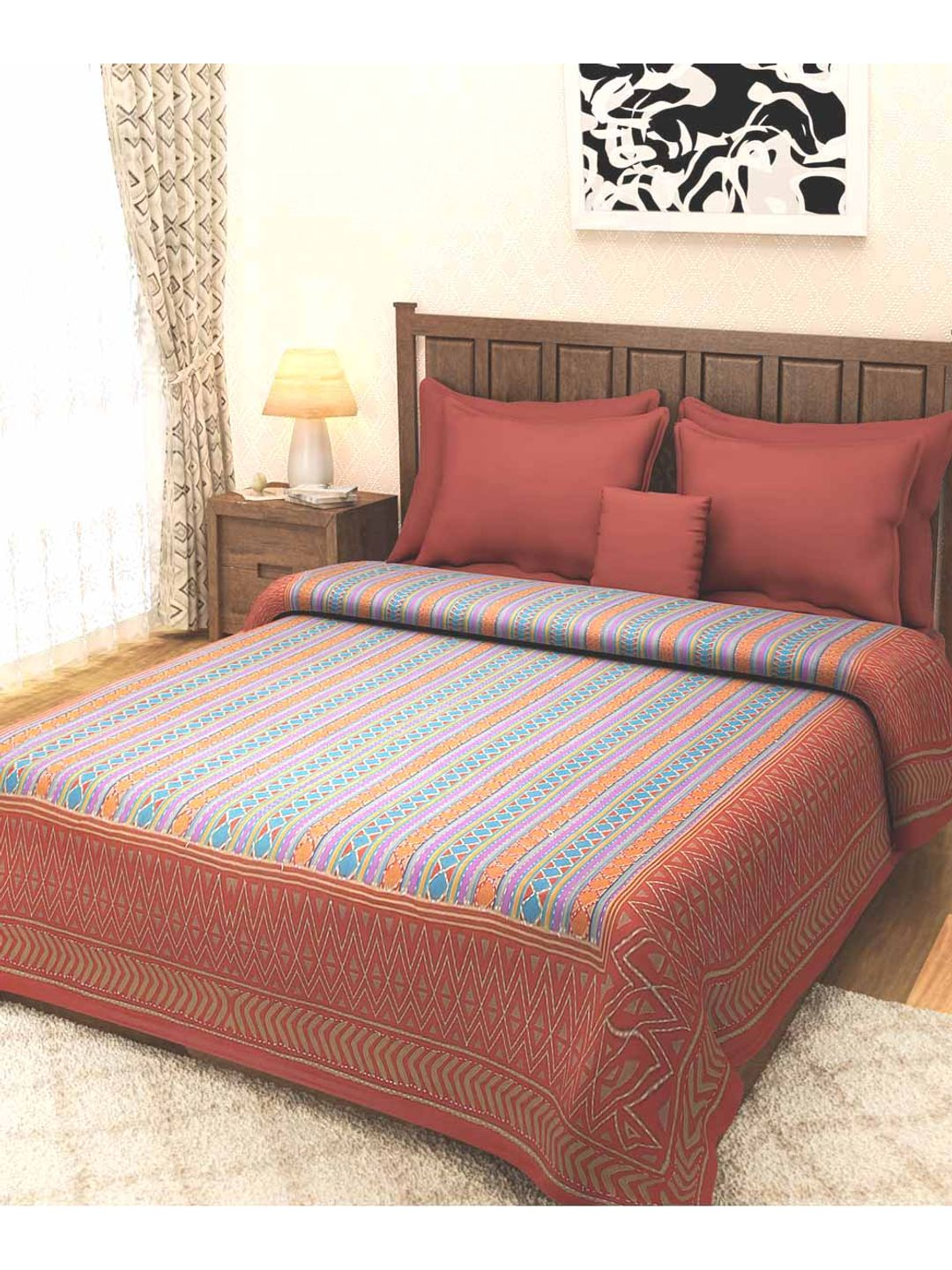 Rajasthani Rust Brown Kantha Bed Cover