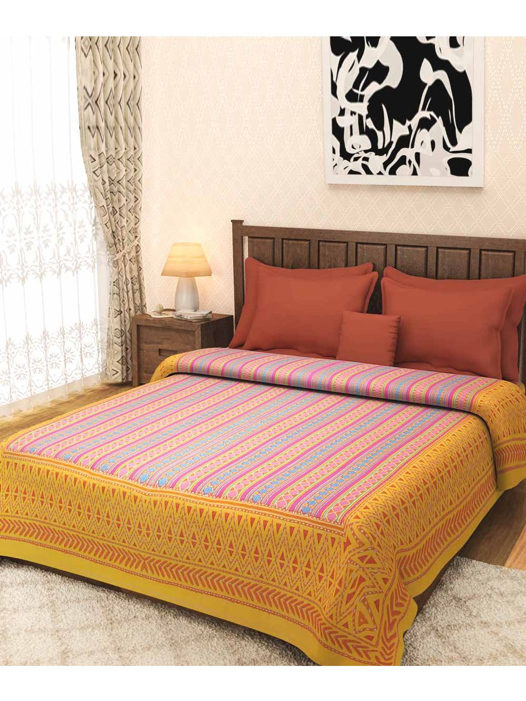 Yellow Kantha Work Jaipuri Bed Cover