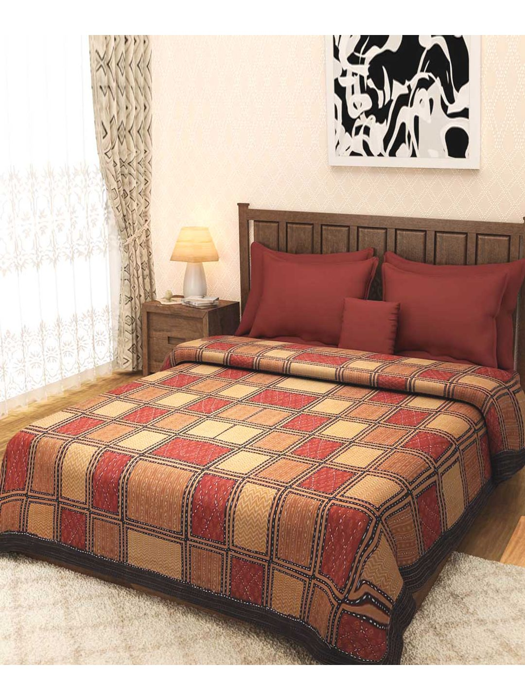 Earthen Brown Kantha Rajasthani Bed Cover