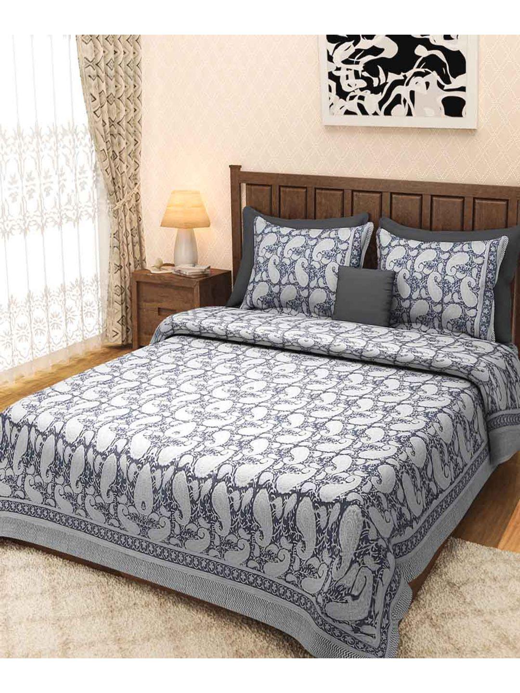 Black Paisley Rajasthani Block Print Bed Sheet