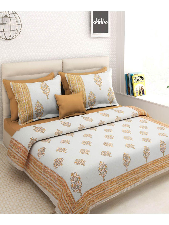 White Orange Block Print Bedsheet