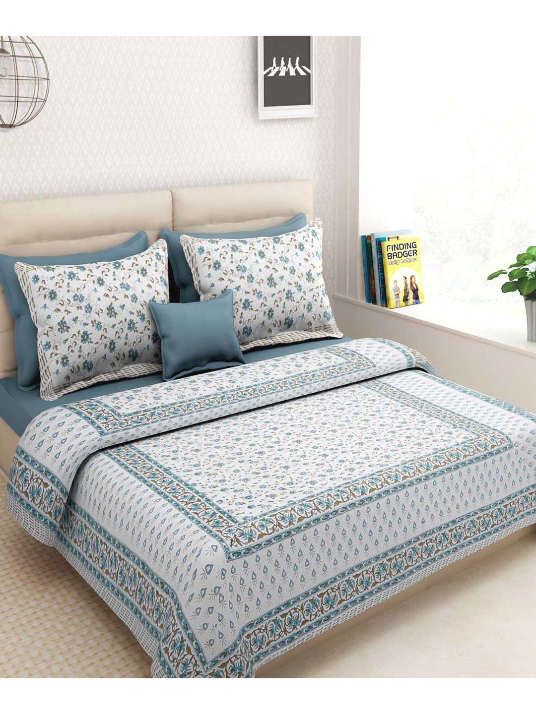 Flowery White Rajasthani Bed Sheet