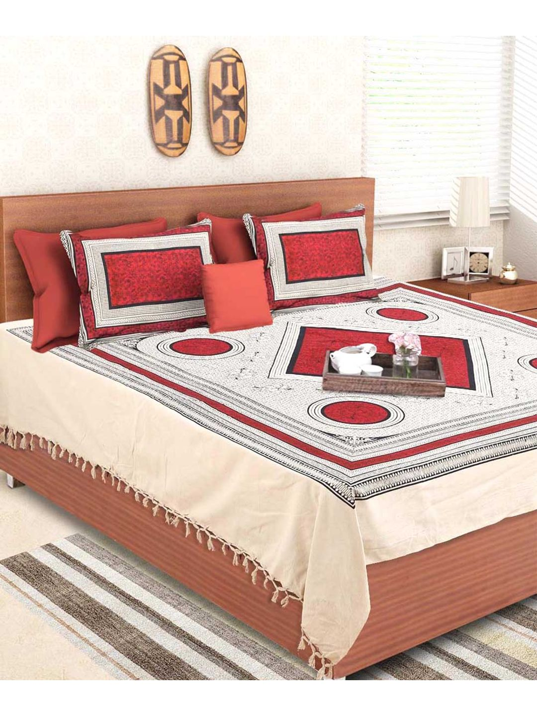 Hand Made Jaipuri Red Circle Double Bedsheet