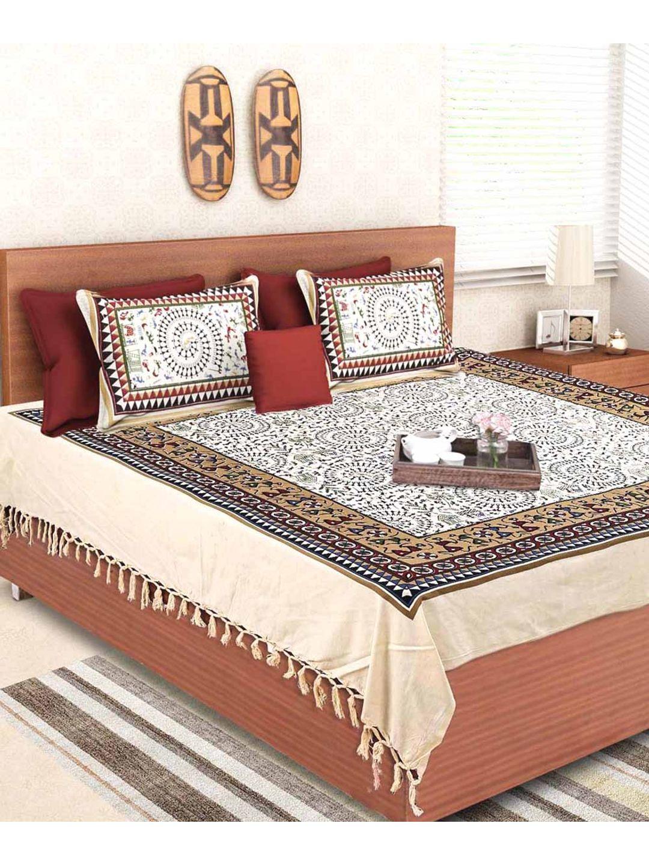 Blockprint Warli Handloom Double Bed Sheet