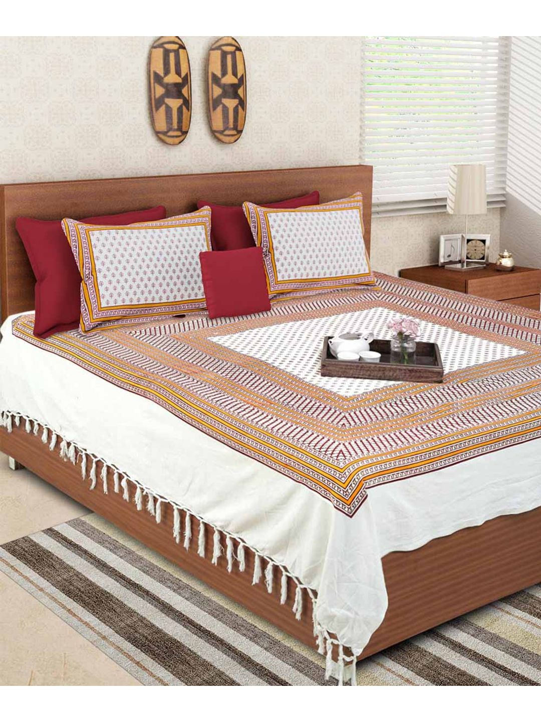 Hand Made Booti Block Print White Double Bedsheet