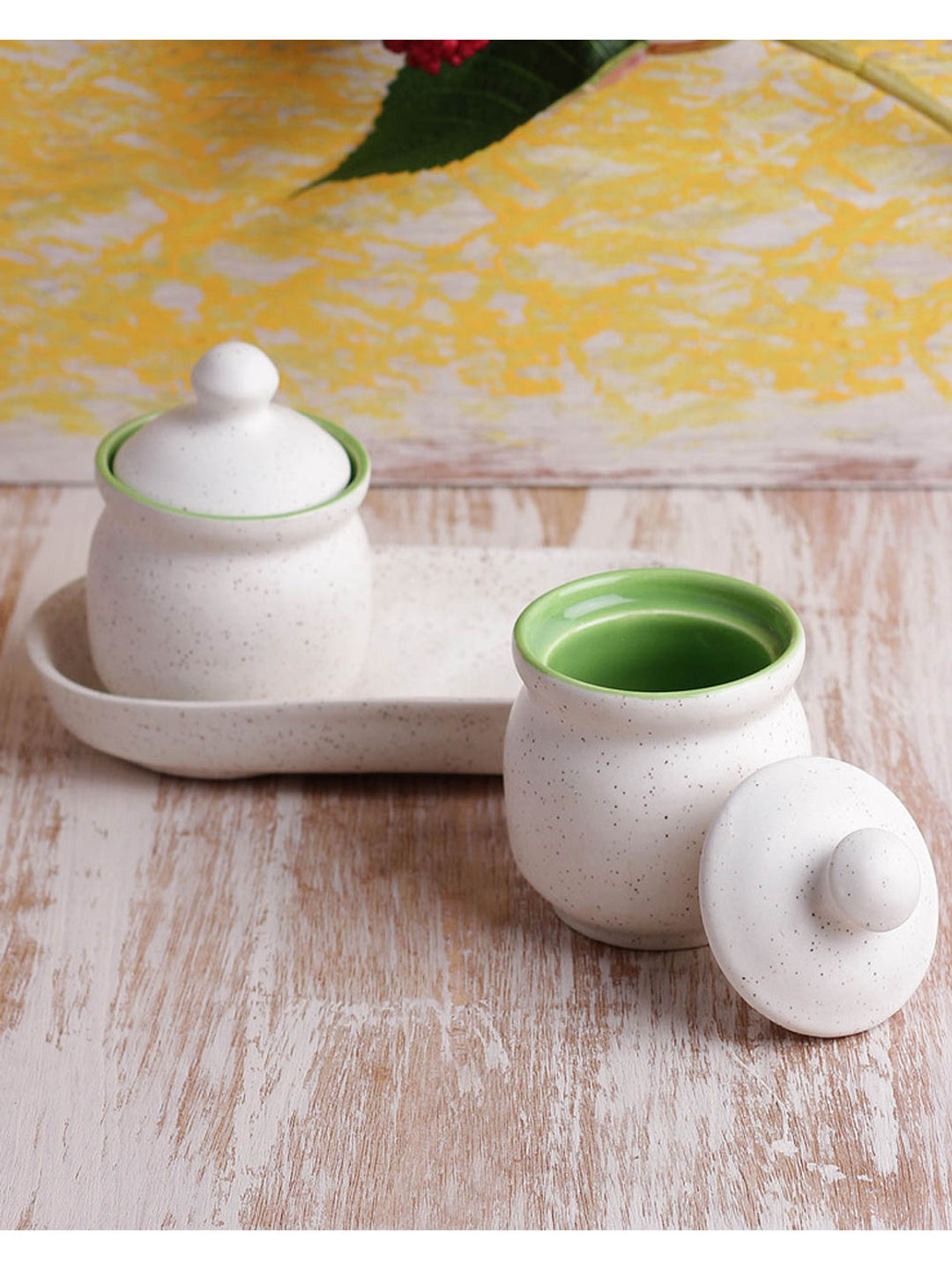 Ceramic Green Pickle Jars Set of Two