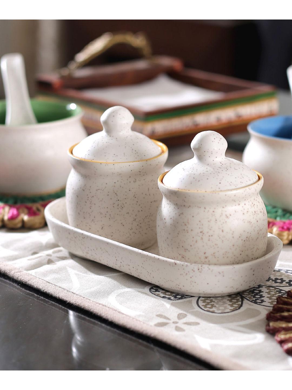 Ceramic Marble Matt Jars Set