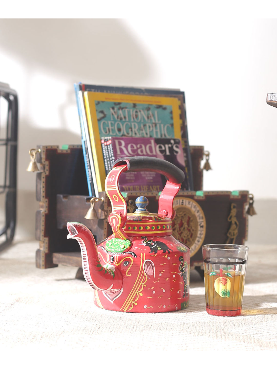 Hand Painted Red Elephant Kettle