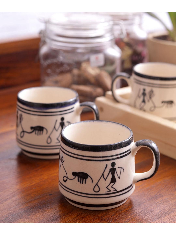 Monochrome Warli Ceramic Cups Set