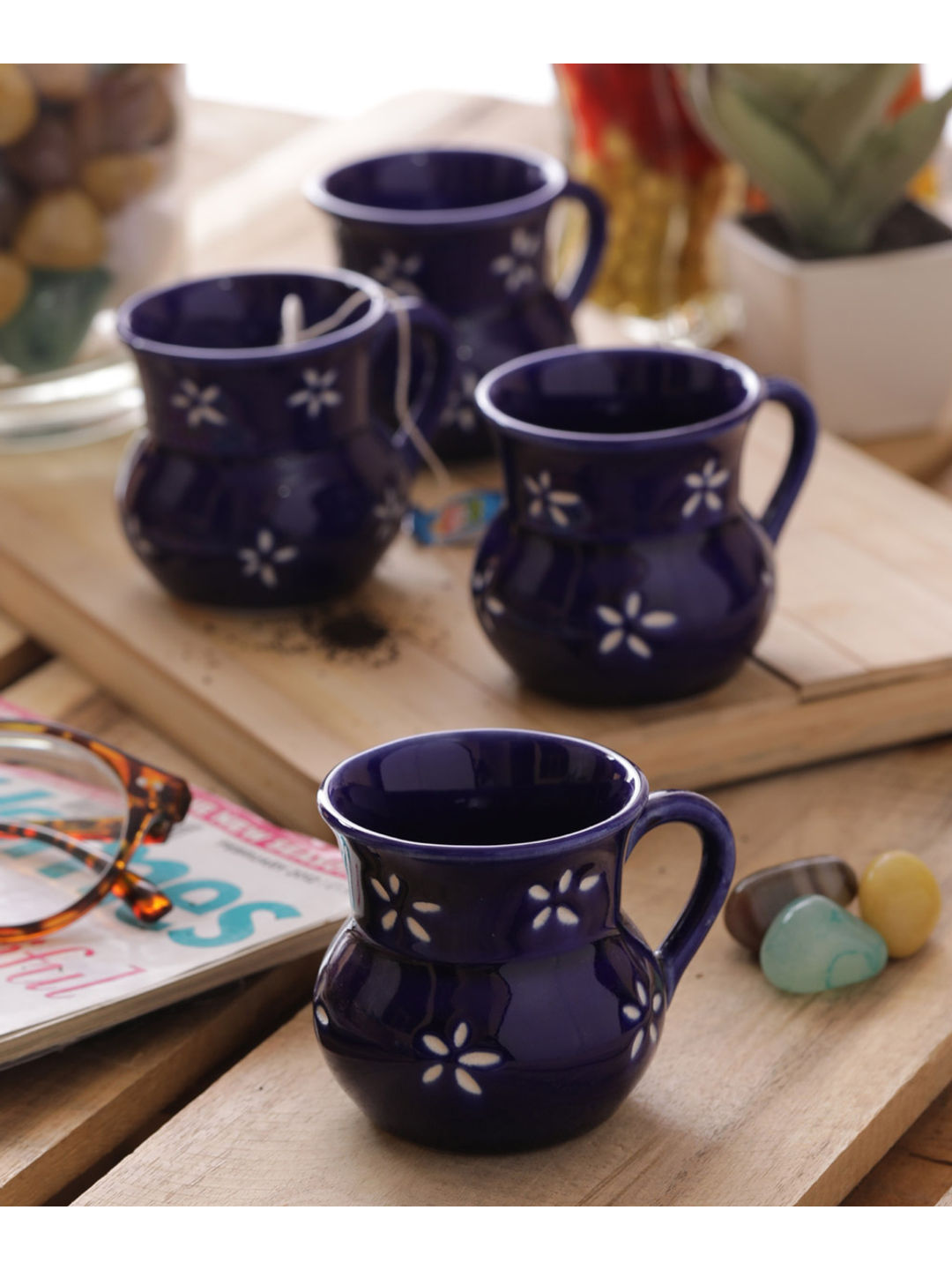 Electric Blue Ceramic Cups Set of Six