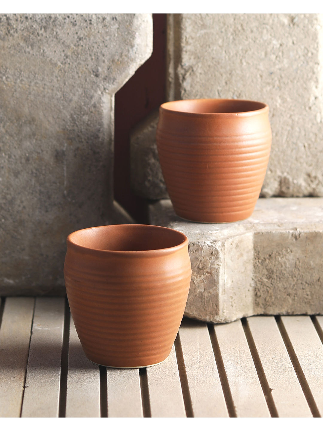 Mud Brown Ceramic Kulhad Cups Set