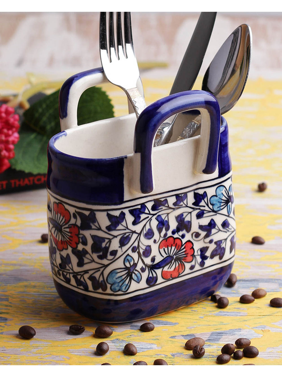 Ceramic Blue Cutlery Holder Basket