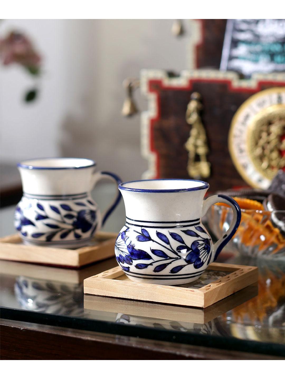 Blue Ceramic Small Round Tea Cups Set of Six